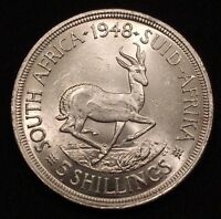 1948 SOUTH AFRICA 5 SHILLINGS SILVER KM 40.1 BRILLIANT UNCIRCULATED
