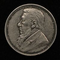 1897 SOUTH AFRICA 1 SHILLING SILVER KM 5 LAST YEAR XF