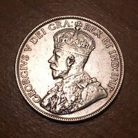 1918 CANADA 50 CENTS FIFTY CENTS SILVER KM 25 VF