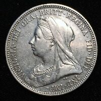 1893 GREAT BRITAIN SHILLING SILVER QUEEN VICTORIA VEILED HEAD KM 780 XF