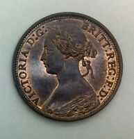 1866  GREAT BRITAIN YOUNG HEAD FARTHING QUEEN VICTORIA  RED BROWN UNC STUNNING