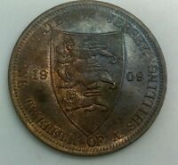 1909  JERSEY 1/12 SHILLING EDWARD VII   RED BROWN UNC STUNNING LARGE BRONZE COIN