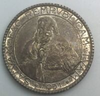 1931 SAN MARINO 20 LIRE  LARGE SIZED SILVER  COIN ORIGINAL TONED