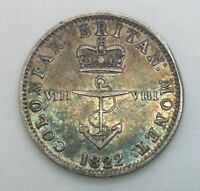 1822  1/8 DOLLAR ANCHOR MONEY GEORGE IV  TOKEN WEST INDIES CANADA BWI NICE TONED