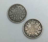 CANADA PAIR OF BETTER DATE  10 CENTS SILVER QUEEN VICTORIA 1871 1885 OBVERSE 4