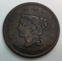 1842  LARGE DATE LARGE CENT  PLEASING  COIN STRONG DETAILS DIE CLASH