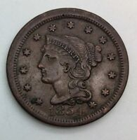 1854  LARGE CENT  PLEASING ORIGINAL COIN NICE COLOUR TYPE COIN