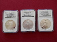 2006 SILVER AMERICAN EAGLE 20TH ANNIVERSARY 3 PC SET GRADED NGC