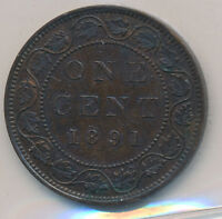 CANADA LARGE CENT 1891 SL SD OBVERSE 3 - ICCS EF-40