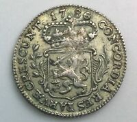 1786 NETHERLANDS 1/4 SILVER DUCAT  KM99  NICE GRADE COIN NO ISSUES