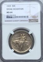 1925 STONE MOUNTAIN  COMMEMORATIVE MS64 CHOICE  ORIGINAL COIN NGC GRADED
