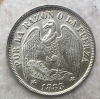 1883/2 CHILE PESO SHARP DETAILS SOME LUSTRE OLD LIGHT CLEANING KM142.1