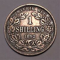1892 SOUTH AFRICA 1 SHILLING SILVER KM 5 130K MINTAGE XF INCREDIBLE TONING