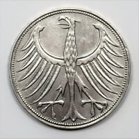 1959 G GERMANY 5 MARK FEDERAL REPUBLIC KM 112.1 SILVER COIN LOW MINTAGE