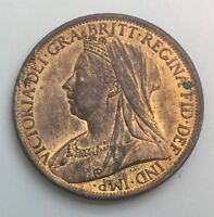 GREAT  BRITAIN 1901  PENNY VICTORIA RED BROWN NICE COIN FULL CARTWHEEL LUSTRE