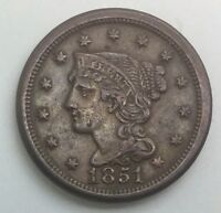 1851  LARGE CENT  PLEASING ORIGINAL MID GRADE TYPE COIN