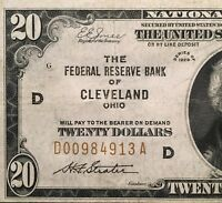 1929 $20 NATIONAL BANK NOTE CLEVELAND OHIO BROWN SEAL NATIONAL CURRENCY NICE