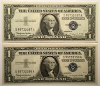 LOT OF TWO SEQUENTIALLY NUMBERED 1957B $1 ONE DOLLAR SILVER CERTIFICATES SHARP