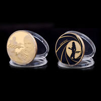 JAMES BOND 007 GOLD PLATED COMMEMORATIVE CHALLENGE COIN COLLECTION SOUVENIRATUJ