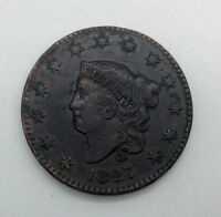 1827 N 8  LARGE CENT CORONET HEAD SHARP  GRADE NICE COLOUR
