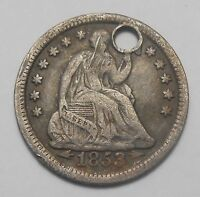 1853 ARROWS UNITED STATES HALF DIME F VF HOLED  1ST OF TYPE U.S.A. SILVER