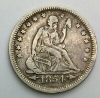 1854 ARROWS AT DATE   PHILADELPHIA QUARTER DOLLAR 25 CENTS SHARP COIN