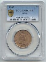 CANADA 1902 LARGE CENT PCGS MS 63 RB RED/BROWN MOSTLY RED
