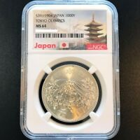 1964 JAPAN TOKYO OLYMPIC GAMES S1000 YEN 20G SILVER COIN NGC MS 64