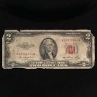 1953 SERIES $2 TWO DOLLAR RED SEAL NOTE BILL SMALL SIZE US CURRENCY BLOCK A A