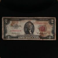 1953 A SERIES $2 TWO DOLLAR RED SEAL NOTE BILL SMALL SIZE US CURRENCY BLOCK A/A