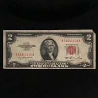 1953 SERIES $2 TWO DOLLAR RED SEAL NOTE BILL SMALL SIZE US CURRENCY A/A BLOCK