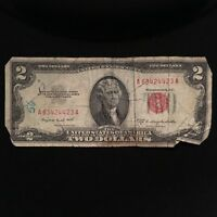 1953 B SERIES $2 TWO DOLLAR RED SEAL NOTE SMALL SIZE US CURRENCY  BLOCK A/A