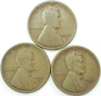 LOT OF 3 1927 D LINCOLN WHEAT PENNIES 1C CENT. FAST SHIPPING  BETTER DATE  NICE