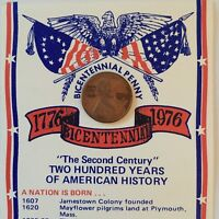 1976 BICENTENNIAL PENNY CARD 1975 D PENNY US AND LIBERTY BELL ON FACE OF COIN