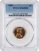 1954 1C PCGS MINT STATE 65 RB - LINCOLN CENT