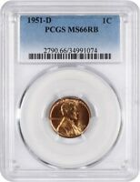 1951-D 1C PCGS MINT STATE 66 RB - LINCOLN CENT