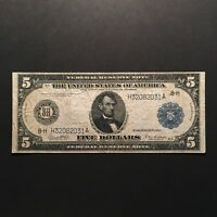 1914 $5 FEDERAL RESERVE NOTE ST. LOUIS MO US FIVE DOLLAR LARGE SIZE NOTE