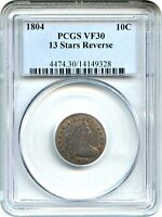1804 10C PCGS VF30 13 STARS REVERSE EARLY DRAPED BUST DIME - BUST DIME