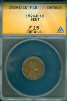 1924-D 1C LINCOLN CENT ANACS F 14 DETAILS 1824191