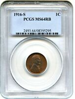 1916-S 1C PCGS MINT STATE 64 RB - LINCOLN CENT