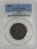 1801 LARGE CENT 34655721 UNC DETAIL PCGS