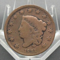 1831 CORONET HEAD TYPE LARGE CENT VG CONDITION
