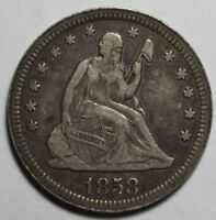1858 SEATED QUARTER DZ38