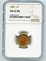1865 INDIAN HEAD CENT NGC MINT STATE 62 RB