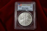 2005 AMERICAN SILVER EAGLE, PCGS MINT STATE 69, FIRST STRIKE, UNITED STATES BULLION COIN