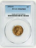 1910-S 1C PCGS MINT STATE 65 RD - BETTER DATE S-MINT GEM - LINCOLN CENT