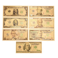 1 SET 7 PCS GOLD PLATED US DOLLAR PAPER MONEY BANKNOTES CRAFTS FOR COLLECTION 9C