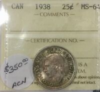 CANADA 1938   25 CENTS MS 64 NEAR GEM TONING EXCELLENT EYE APPEAL
