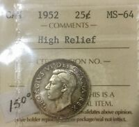 CANADA 1952 HI RELIEF  25 CENT QUARTER NICE TONING OLD ICCS 2 LETTER MS64