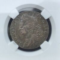 GREAT BRITAIN 1758 GEORGE II SHILLING CH EXF 45 NGC PLEASING TONED  EXAMPLE